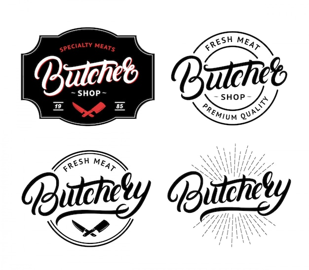 Set of butcher shop and butchery hand written lettering logo Premium Vector