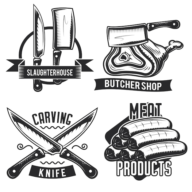 Set of butcher stuff emblems, labels, badges, logos. Free Vector