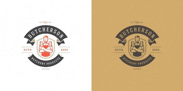 Set of butchershop or restaurant logos Premium Vector