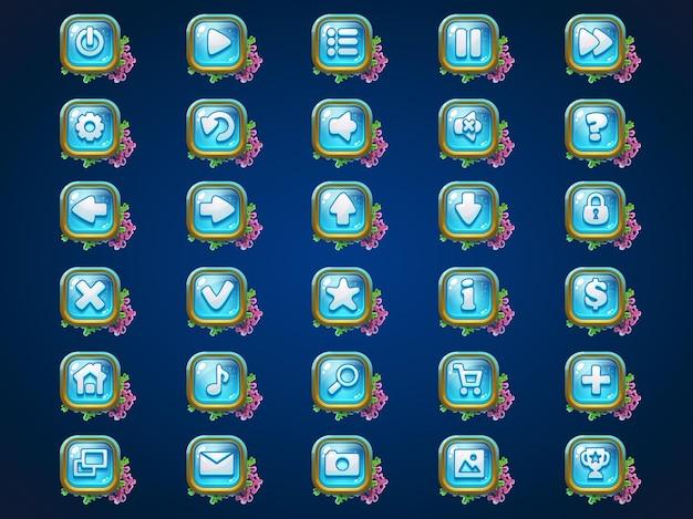 Webビデオゲームのatlantisriunsゲームのユーザーインターフェイスの背景にボタンを設定します Premiumベクター