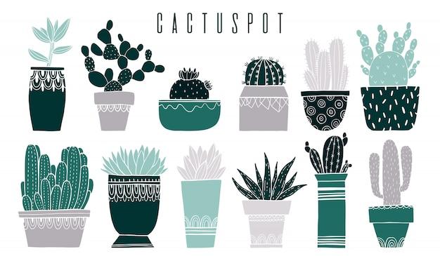 Set cactus pot and succulent in sketch style. Premium Vector