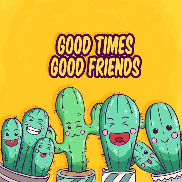Set of cactus with funny face by using colored hand drawn style on yellow background Premium Vector