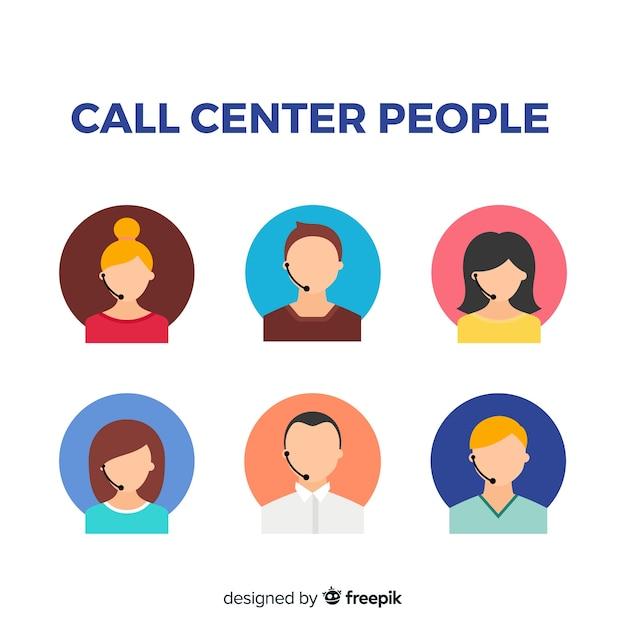 Set of call center avatars Free Vector