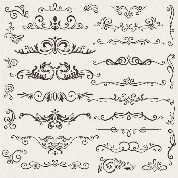Set of calligraphic design elements and page decorations. Premium Vector