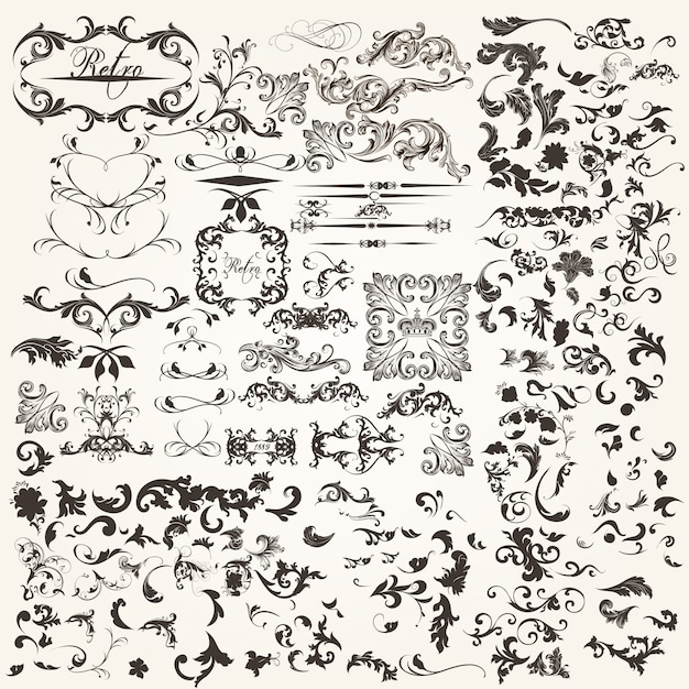 Set of calligraphic elements Free Vector
