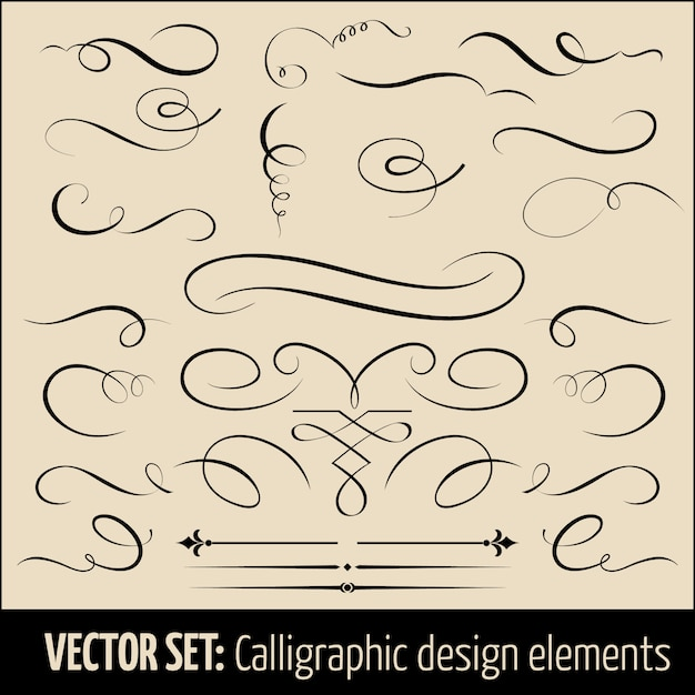 Set of calligraphic and page decoration design elements. Free Vector