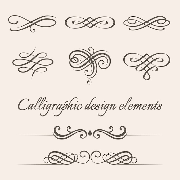 Set of calligraphic and page decoration design elements. Premium Vector