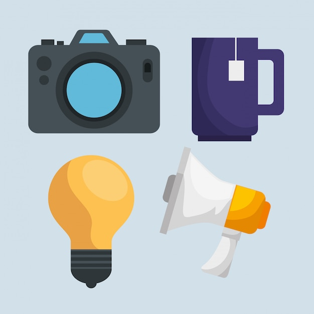 Set camera with tea cup and bulb with megaphone message Free Vector