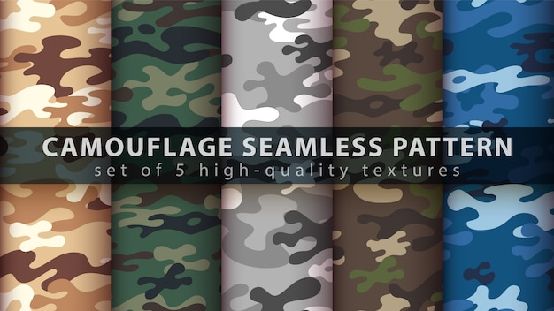 Set camouflage military seamless pattern Premium Vector