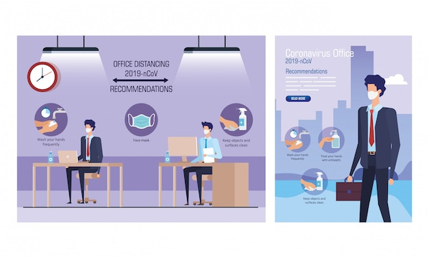 Set of campaign distancing social and recommendations at office vector illustration design Premium Vector