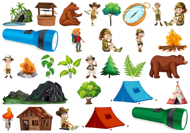 Set of camping element Free Vector