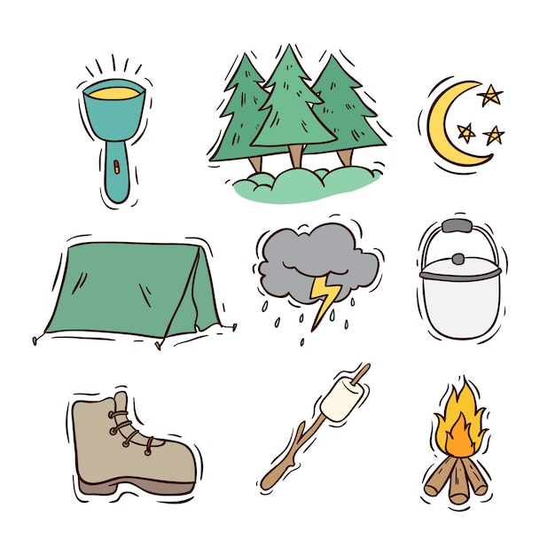 Set of camping icons or elements with colored doodle style Premium Vector