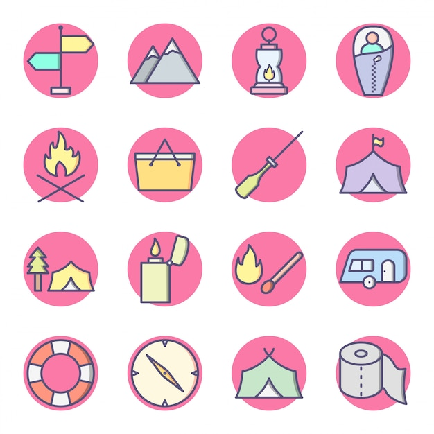 Set of camping icons isolated on white Premium Vector