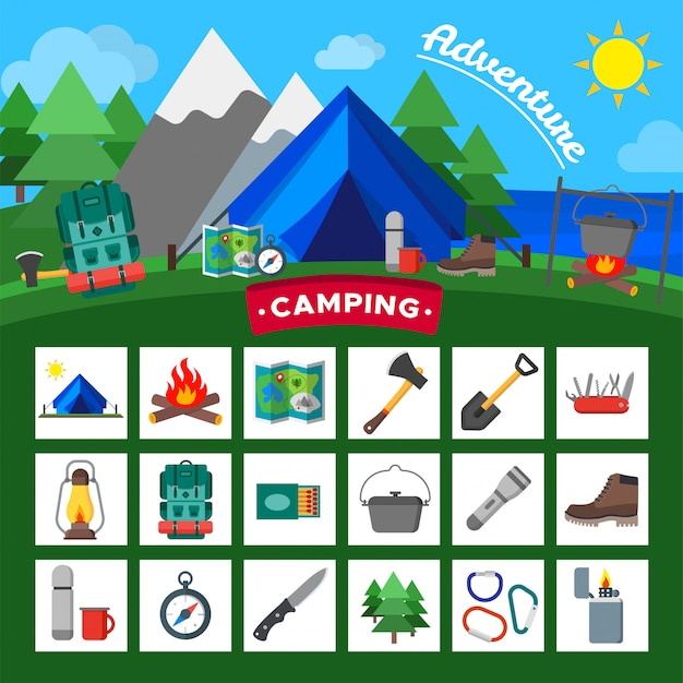Set of camping outdoor activity icons. tourist camp equipment collection. Premium Vector