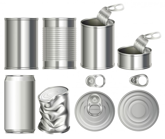 A set of can container Premium Vector