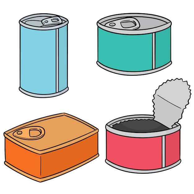 Set of can Premium Vector
