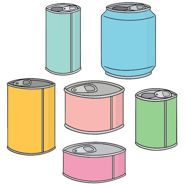 Set of can Premium Vector