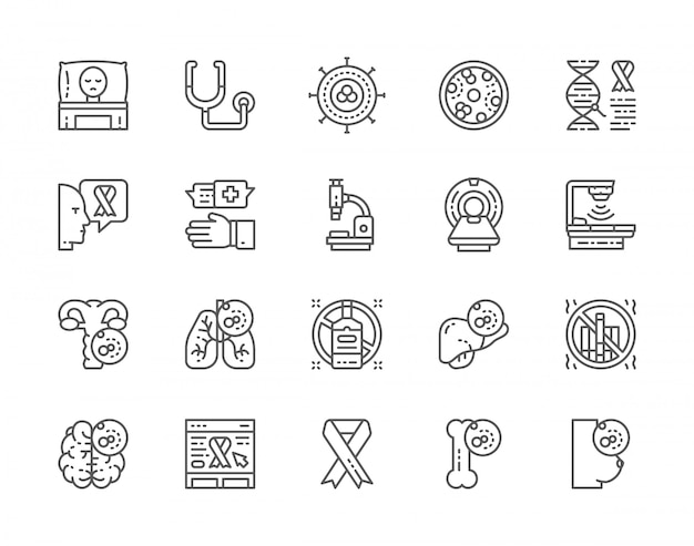 Set of cancer and chemotherapy line icons. Premium Vector