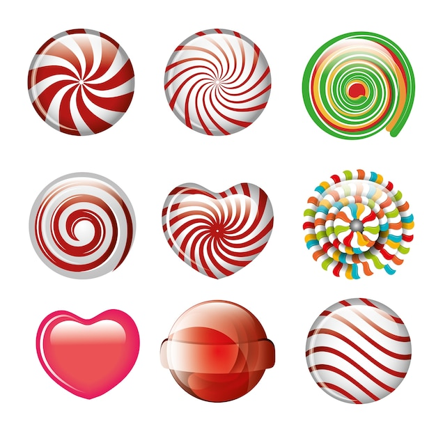 Set candies spiral and heart different color design Premium Vector
