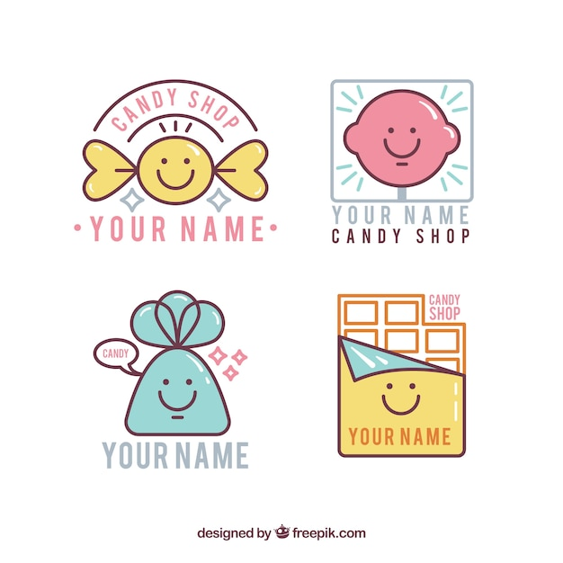 set of candy store logos vector free download