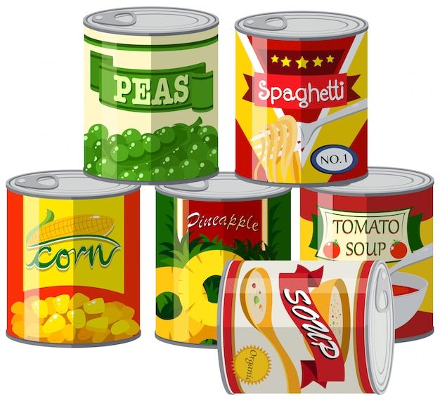 Set of canned foods Free Vector