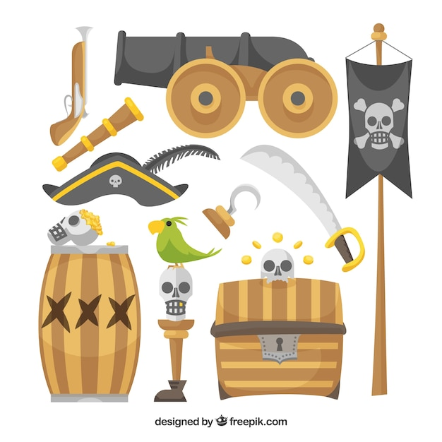 Set of cannon and pirate elements Free Vector