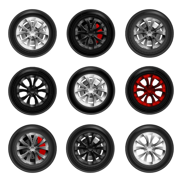 Set of car black new wheels isolated on white background. Premium Vector
