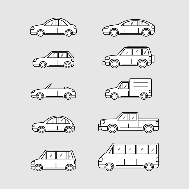 Set of car icons, thin line style