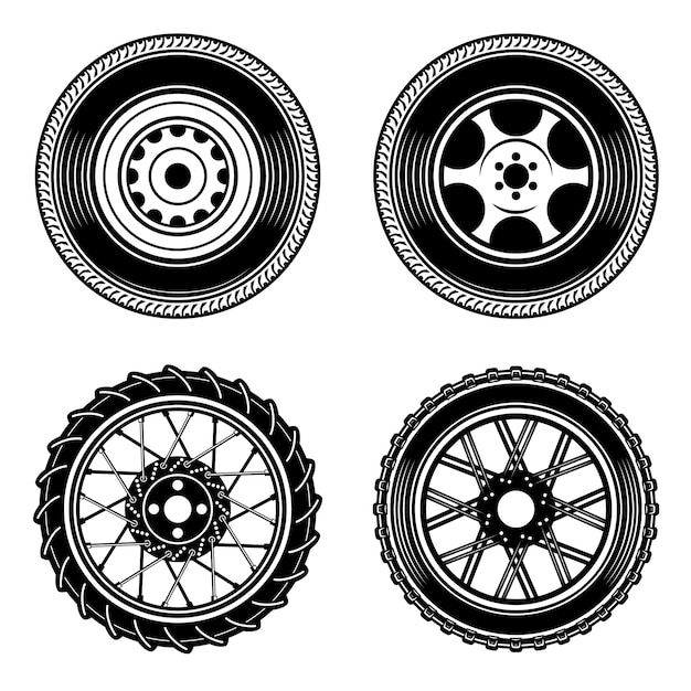 Set Of Car And Motorcycle Wheels Icons