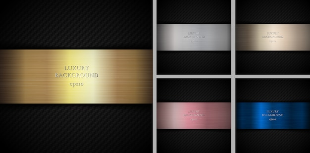 Set of carbon gold, silver, pink gold, bronze, copper metallic Premium Vector