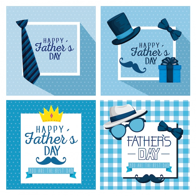 Set card decoration to fathers day celebration Premium Vector