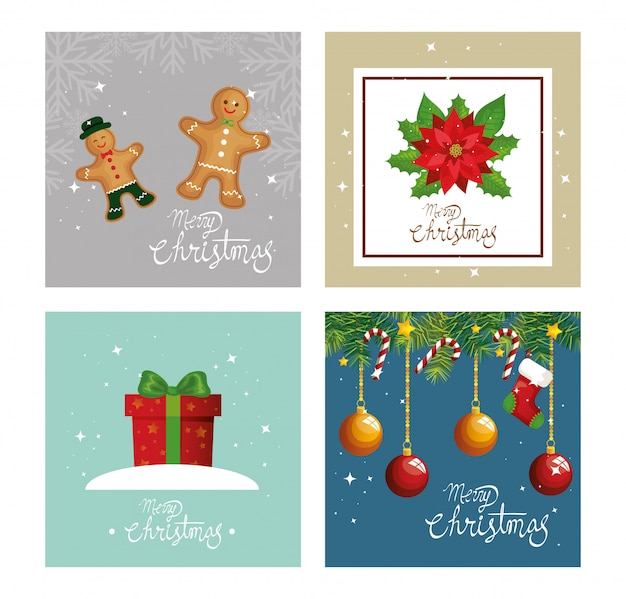 Set card of merry christmas and decoration Free Vector