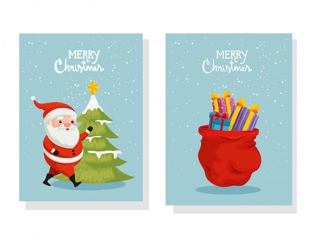 Установите карточку счастливого рождества и украшения Бесплатные векторы