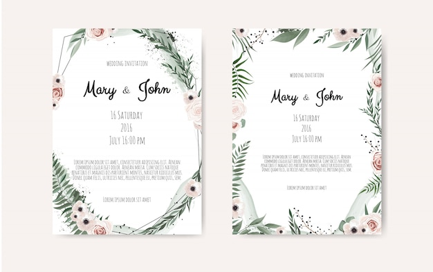 Set of card with leaves and geometrical frame. Premium Vector