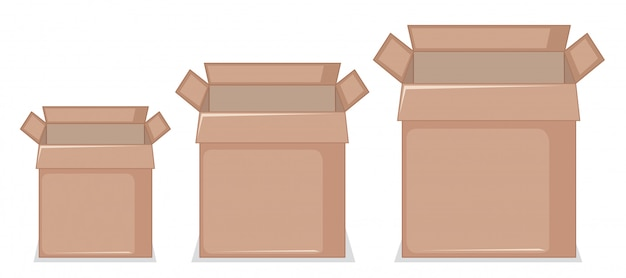 Set of cardboard box Free Vector
