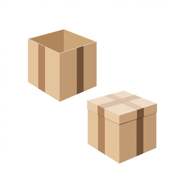 Set of cardboard boxes isolated on white background. Premium Vector