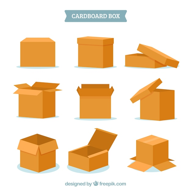 Set of cardboard boxes to shipping Free Vector