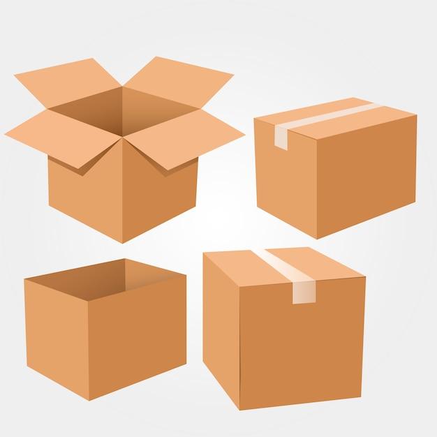 Set of cardboard boxes.  . Premium Vector