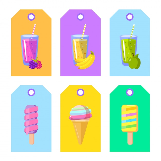 Set of cards banners tags package labels with cartoon ice cream and smoothies Premium Vector
