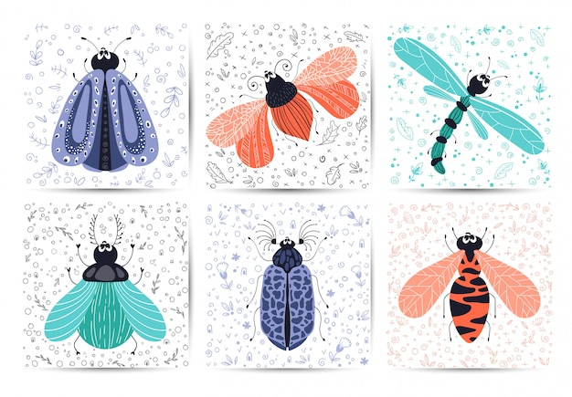 Set of cards - cartoon bug or beetle, butterfly, flat Premium Vector