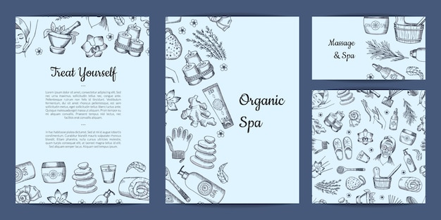 Set of cards or flyer template with spa theme Premium Vector