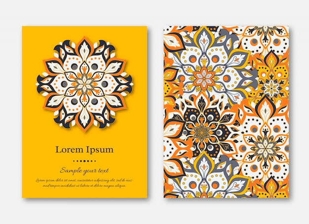 Set of cards, flyers, brochures, templates with hand drawn manda Premium Vector