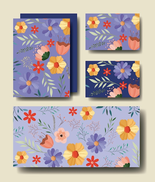 set cards handmade with floral decoration vector  premium