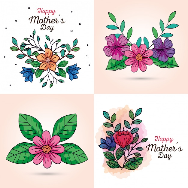 Set cards of happy mother day with flowers decoration Free Vector