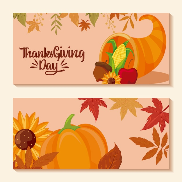 Set of cards of happy thanksgiving Premium Vector