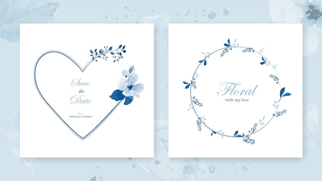 Set of cards heart frame and a wreath decorated with a bouquet flowers of beautiful blue watercolor leaves. Premium Vector