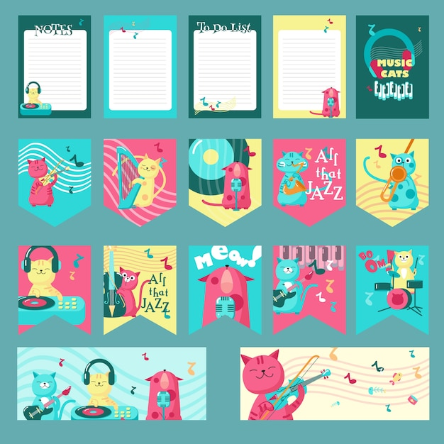 Set of cards, party flags, notepad sheets with cute cats and inspirational quotations about music. Premium Vector