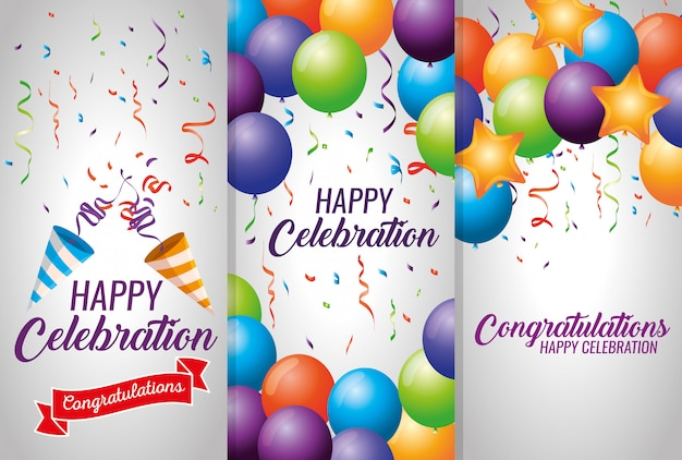 Set cards with balloons and confetti decoration Free Vector