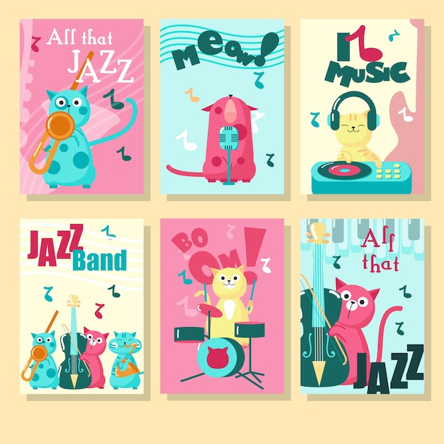 Set of cards with cute cats and inspirational quotations about music. Premium Vector