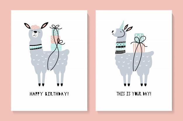 Set of cards with a cute llama. happy birthday Premium Vector